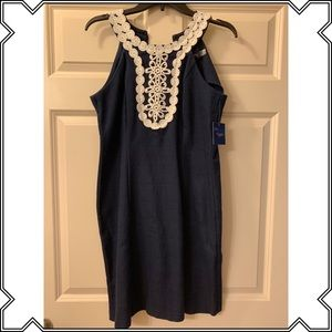 Navy Fitted Dress with Detailing